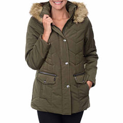 Fleet Street Box-Quilted Faux-Silk Parka with Faux-Fur Trim Hood