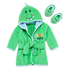 Okie Dokie Boy Hooded Robe And Slippers Green Dino