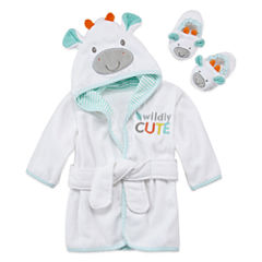 Okie Dokie Neutral Hooded Robe And Slippers White Giraffe
