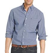 IZOD® Long-Sleeve Essential End On End Woven Cotton Poplin Shirt