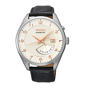 Seiko® Retrograde Mens Silver-Tone Black Leather Strap Watch SRN049
