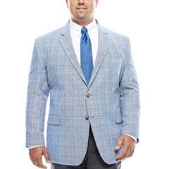 Stafford® Bright Blue Plaid Linen-Cotton Sport Coat - Big & Tall