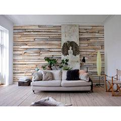Whitewashed Wood Wall Mural