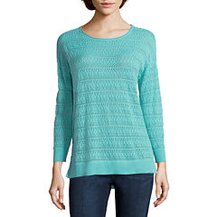 St. John's Bay® 3/4-Sleeve Pointelle Sweater