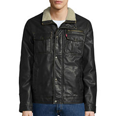 Levi's® Faux Leather Trucker Jacket with Sherpa Lining