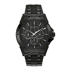 Bulova® Mens Black Stainless Steel Watch 98C121