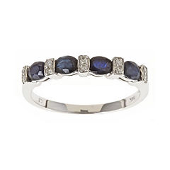 LIMITED QUANTITIES  Genuine Sapphire and Diamond-Accent Band