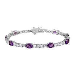 Womens Purple Amethyst Silver Over Brass Tennis Bracelet