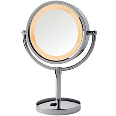 Jerdon Style Lighted Tabletop Mirror with Outlet