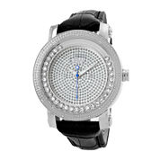 JBW Hendrix Men's 1/4 CT. T.W. Diamond Black Leather Strap Watch JB-6211L-G