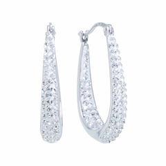Silver Treasures Crystal Silver Over Brass Hoop Earrings