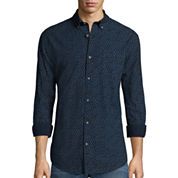 St. John's Bay® Long-Sleeve Printed Chambray Sport Shirt