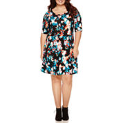 Decree® Scoop-Back Skater Dress - Juniors Plus
