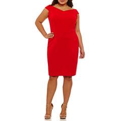 Bisou Bisou Short Sleeve Sheath Dress-Plus