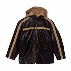 Momo Grow Big Boys Faux Leather Hooded Racer Jacket