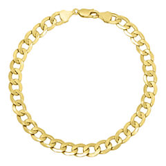 Made in Italy 14K Yellow Gold Hollow Curb Chain Bracelet