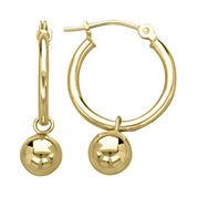 Infinite Gold™ 14K Yellow Gold Polished Drop Ball Hoop Earrings