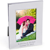 Cathy's Concepts  Vertical Beaded Silver Picture Frame