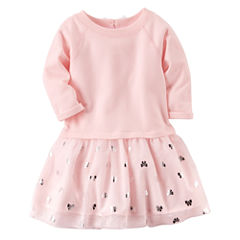 Carter's Long Sleeve Bows A-Line Dress - Toddler Girls
