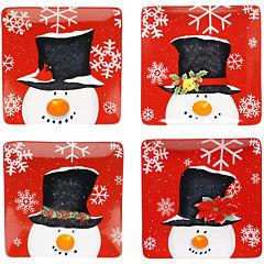 Certified International Top Hat Snowman Set of 4 Dinner Plates