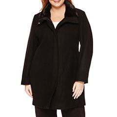 Liz Claiborne® Faux-Fur Collar Zip Coat - Plus