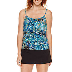 Jamaica Bay® Muted Reptile Triple-Tier Ruffle Tankini Swim Top or Side-Slit Skirt