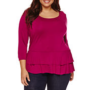 Boutique+ 3/4-Sleeve Peplum Knit Top - Plus