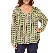 Liz Claiborne® 3/4-Sleeve Peasant Top - Plus