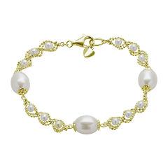 Cultured Freshwater Pearl & Brilliance Bead Bracelet