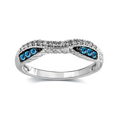 1/4 CT. T.W. White and Color-Enhanced Blue Diamond 10K White Gold Wedding Band