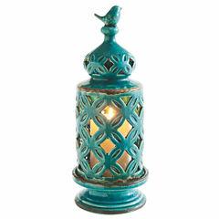 Large Turquoise Bird Finial Pillar Lantern