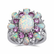 Womens White Opal Cocktail Ring