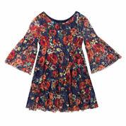 Rare Editions Long Sleeve A-Line Dress - Preschool