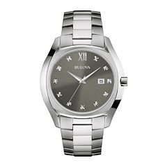 Bulova® Diamonds Mens Diamond-Accent Stainless Steel Watch 96D122