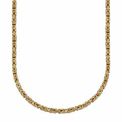 18K Yellow Gold 060 Gauge Byzantine Chain Necklace