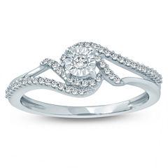 Womens 1/5 CT. T.W. Genuine Multi-Shape White Diamond Sterling Silver Promise Ring