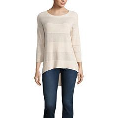 Stylus 3/4 Sleeve Round Neck Pullover Sweater-Petites