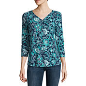 Liz Claiborne 3/4 Sleeve V Neck T-Shirt