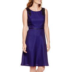 Black Label by Evan Picone Sleeveless Applique Dress