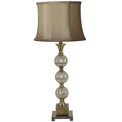 Antique Gold-Tone Stacked Ball Table Lamp