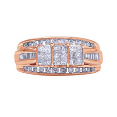1 CT. T.W. Diamond 10K Rose Gold Princess-Cut Multi-Top Ring
