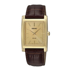 Seiko® Mens Brown Leather Strap Solar Watch SUP896