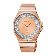 Seiko® Womens Crystal-Accent Rose-Tone Stainless Steel Bracelet Watch SXDF74