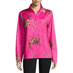 Mossy Oak 1/4 Zip Hot Pink Shirt