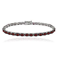Genuine African Garnet Sterling Silver Line Bracelet