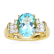Genuine Blue Topaz and Lab-Created White Sapphire 14K Yellow Gold over Silver Ring