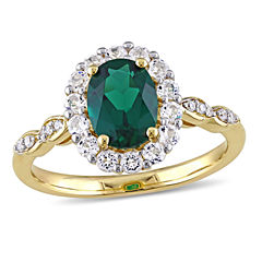 Womens Diamond Accent Green Emerald 14K Gold Cocktail Ring