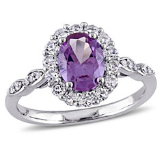 Womens Diamond Accent Purple Alexandrite 14K Gold Cocktail Ring