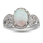 Womens Multi Color Opal Sterling Silver Cocktail Ring