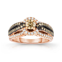 True Love, Celebrate Romance® 1 CT. T.W. Certified Champagne & White Diamond Ring